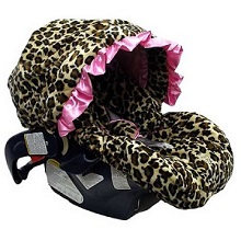 Baby Bella Maya Infant car seat cover, pink leopard